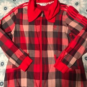 adidas Jackets & Coats - Red checkered adidas zip up